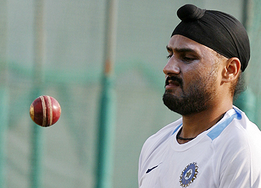 Harbhajan Singh during a practice session in Motera on Monday