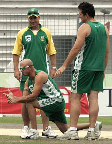 Graeme Smith, Herschelle Gibbs and Mickey Arthur
