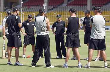 New Zealand players during a practice session in Ahmedabad
