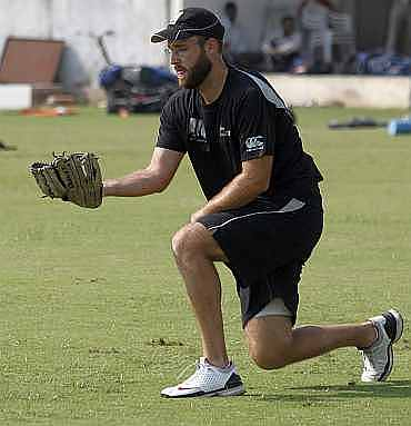 Daniel Vettori during a practice session in Ahmedabad