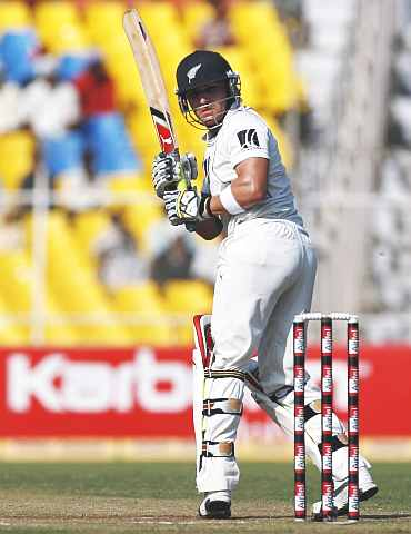 Brendon McCullum plays a leg glance