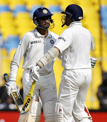Harbhajan Singh (left) with VVS Laxman