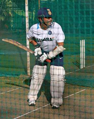 Sachin Tendulkar during a nets session in Hyderabad