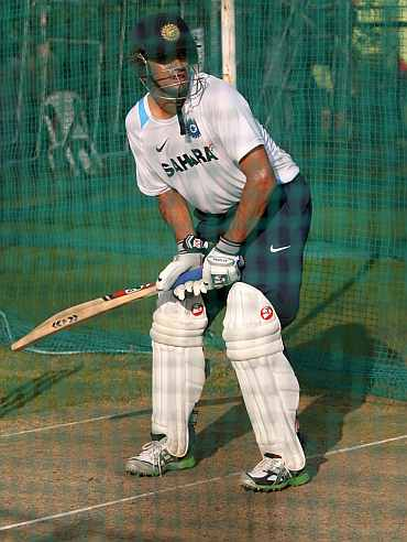 Rahul Dravid during a practice session in Hyderabad