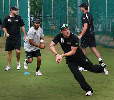New Zealand players during a practice session in Hyderabad