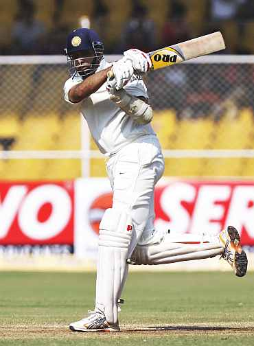 VVS Laxman plays a pull shot