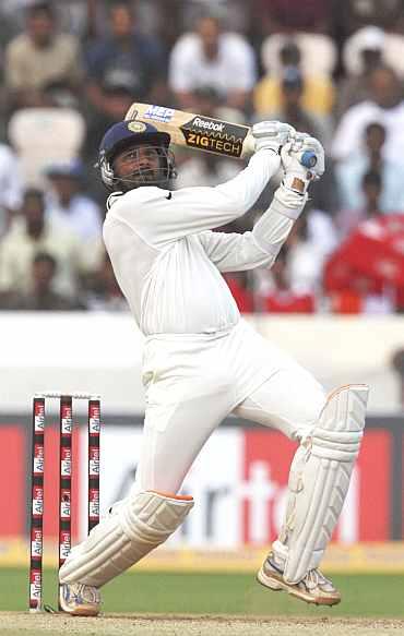 Harbhajan Singh hits a six