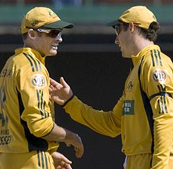 Mike Hussey (left) with brother David