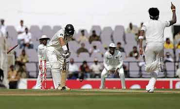 S Sreesanth cleans up Tim McIntosh in Nagpur