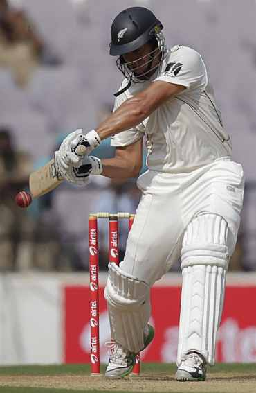 Ross Taylor plays a shot during the third Test match against India in Nagpur