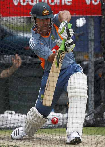 Ricky Ponting during a practice session in Brisbane