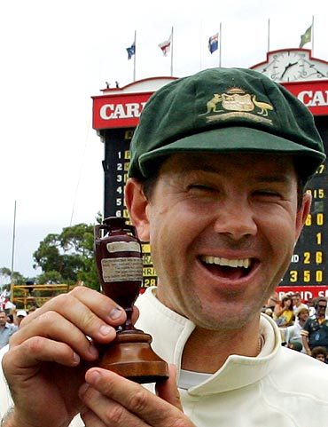 Ricky Ponting holds a replica of the Ashes urn