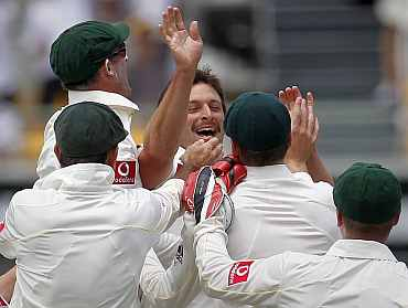 Ben Hilfenhaus celebrates with team-mates after picking up Andrew Strauss during the first Ashes Test match in  Brisbane