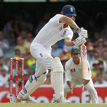 Alastair Cook plays a shot during the first Ashes Test in Brisbane