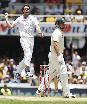 England's James Anderson celebrates after dismissing Australia's Shane Watson on Friday