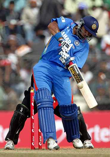 Yuvraj Singh plays a shot during the first ODI against New Zealand in Guwahati