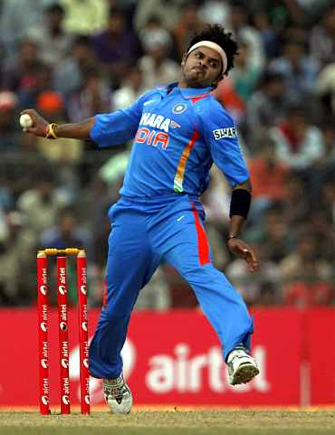 S Sreesanth bowls during the first ODI against New Zealand