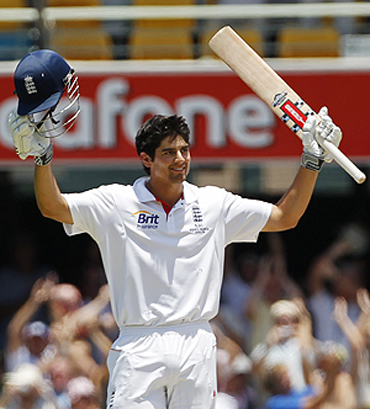 Alistair Cook celebrates on completing his double century on Monday