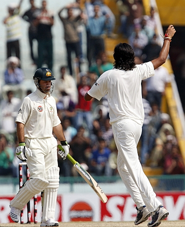 Ishant Sharma celebrates after dismissing Ricky Ponting