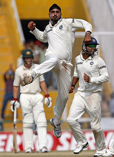 Harbhajan Singh celebrates after dismissing Marcus North