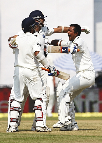 Laxman, Raina and Ojha celebrate
