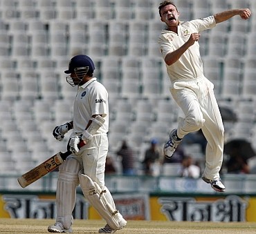 Doug Bollinger celebrates after dismissing Sachin Tendulkar