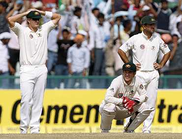 Australian players react after losing the Mohali Test