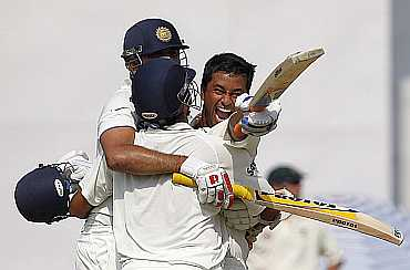 Pragyan Ojha celebrates after winning the Mohali Test