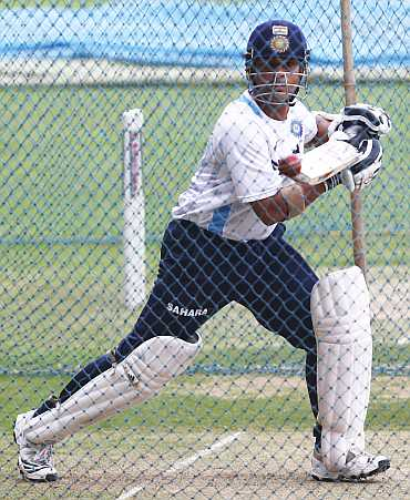 Sachin Tendulkar during a nets session