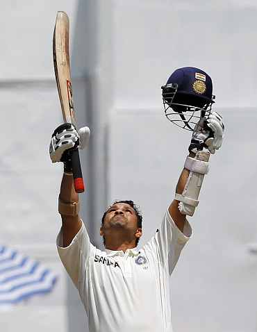 Sachin Tendulkar after he completes his 49th Test century