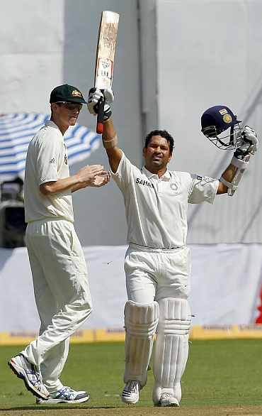Sachin Tendulkar reacts after reaching his double century