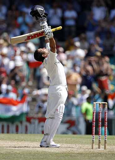 Sachin Tendulkar looks heavenwards after he hits a double century against Australia at the SCG, January 2, 2004.