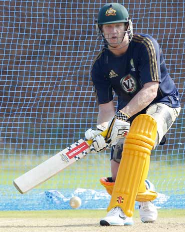 Australia's Cameron White prepares to play a shot at a cricket practice session in Vishakhapatnam