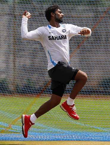 Praveen Kumar during a practice session