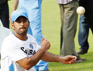 Mahendra Singh Dhoni at a practice session in Margao on Saturday
