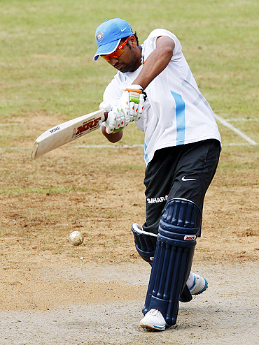 Rohit Sharma during practice on Saturday