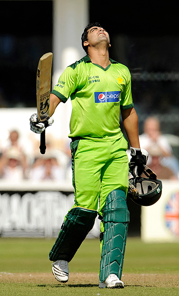Pakistan's Shahzaib Hasan celebrates his century during the warm-up match between Somerset and Pakistan in Taunton, Somerset on Thursday