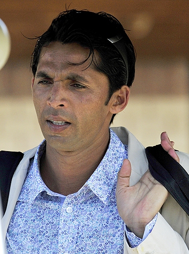 Mohammad Asif outside the team hotel on Tuesday