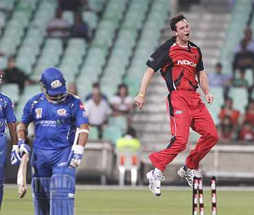 South Australian Redbacks' Aaron O'Brien reacts after dismissing Mumbai Indians' Sachin Tendulkar