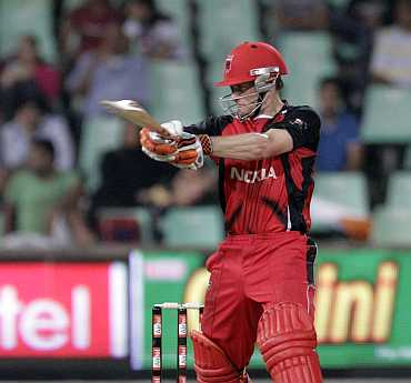 South Australian Redbacks' Daniel Harris hit a boundary