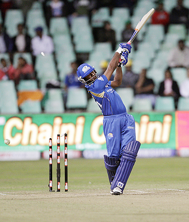 Ambati Rayudu is bowled by E Crandon