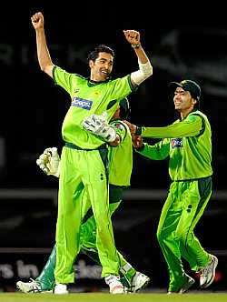 Umar Gul celebrates after picking a wicket against England during the 3rd ODI on Friday