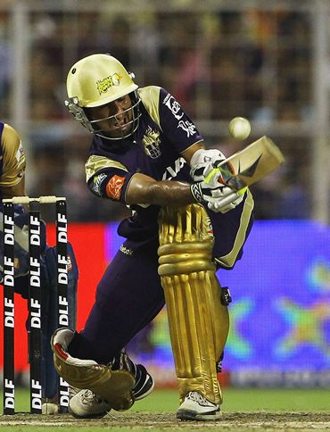 Cheteshwar Pujara bats for Kolkata Knight Riders during the IPL
