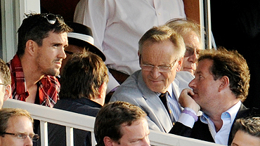 England's Kevin Pietersen (left), author Jeffrey Archer (with glasses) and TV personality Piers Morgan (right) at the fourth ODI between England and Pakistan at Lord's on Monday
