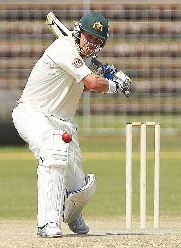Marcus North plays a shot against Board President's XI in Chandigarh