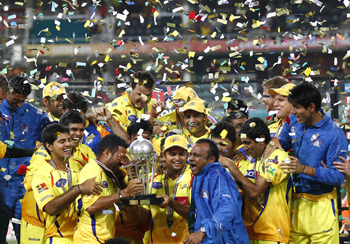 Chennai players with the trophy