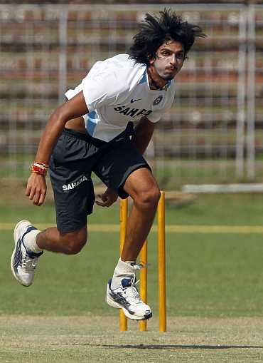 Ishant Sharma bowls during a training session