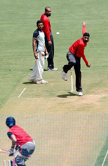 India's Harbhajan Singh during a practice session in Mumbai