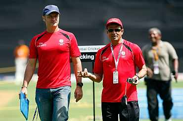 Umpires Aleem Dar Simon Taufel during a training session in Mumbai