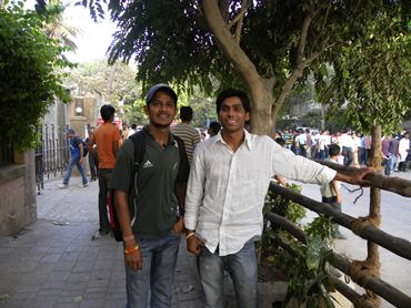 Youngsters Vipul and Rahul wait in hope of getting a ticket
